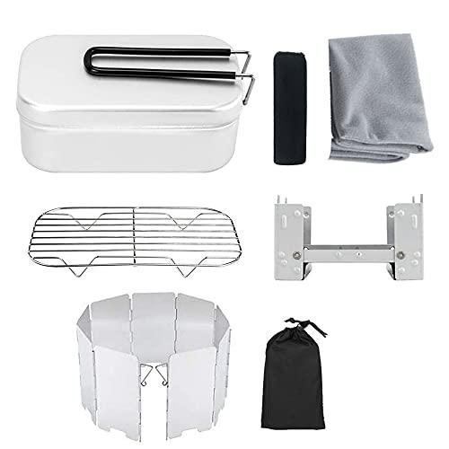 conpoir Mini Estufa Plegable Fiambrera Estante humeante Conjunto Combinado de Parabrisas Plegable