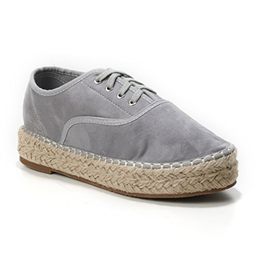 Damen Schuhe Espadrilles Platform Plateau Sneaker Freizeitschuh Schnürer Sportschuhe Sandalen Wildlederimitat Bast geschnürt(38,Grey)