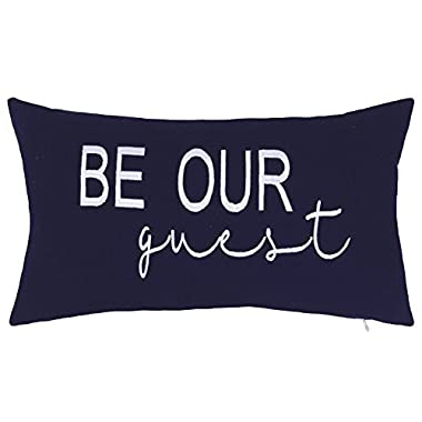 EURASIA DECOR DecorHouzz Be Our Guest Embroidered Pillow Cover Pillow Cases Throw Pillow Decorative Pillow Wedding Birthday Anniversary Gift 12 x20  (Navy)