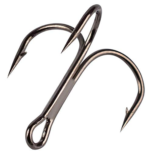 OROOTL Angeln Drillinghaken, Fishing Treble Hooks - Klassische Rundbogenhaken Schwarz, Silber und Rot Scharfe Angelhaken aus Kohlenstoffstahl mit Widerhaken