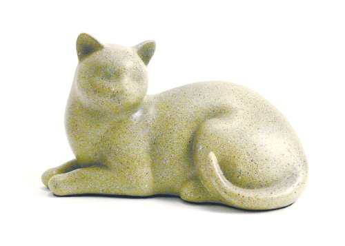 Near & Dear Pet Memorials Cozy Cat Resin Cremation Urn, 25 Cubic Inch, Fawn