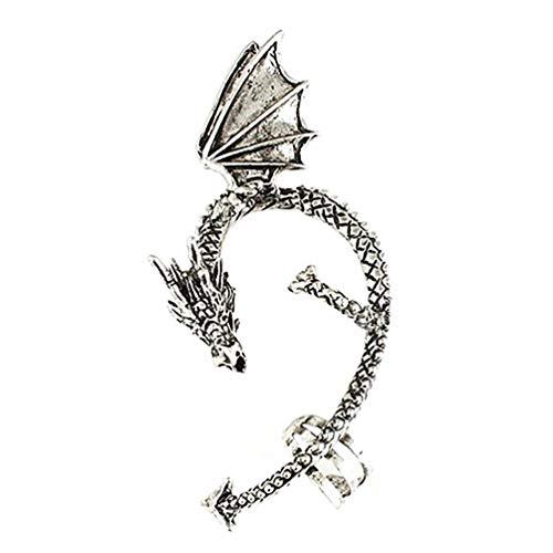 Vektenxi Frauen Retro Gothic Punk geätzt Dragon Form Ohr Manschette kein Piercing Ohrring bequem und praktisch