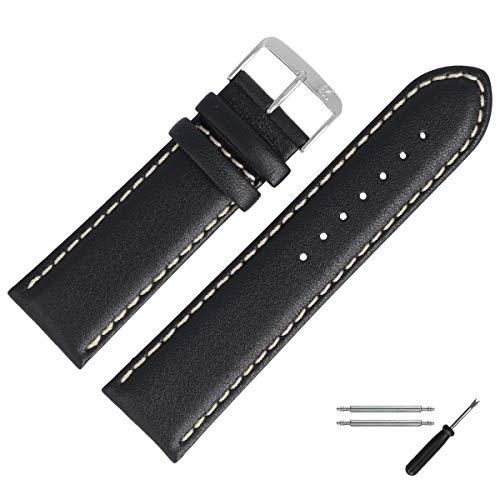 MARBURGER Uhrenarmband 28mm Leder Schwarz - Werkzeug Montage Set 8062810000120