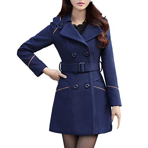 Damen Zweireiher Wollmantel Elegante Arbeits Anzug Jacke FRAUIT Frauen Knopf Stehkragen Einfarbig Zwei Taschen Elegant und Modisch Schlack Trenchcoat Mantel Wintermantel Outwear (L, T-Marine)
