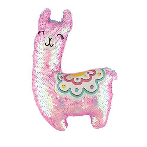 Fashion Angels Magic Sequin Llama Decorative Plush (77492) Llama Stuffed Animal with Reversible Sequins, Pink