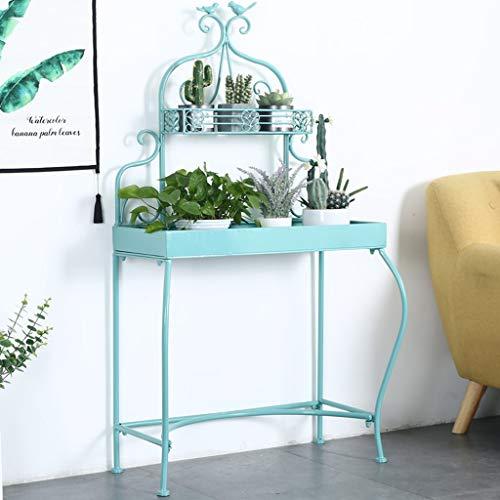 CXD Metalen Planter Bloemenstandaard, Binnen/buiten 2 Tier IJzeren Bloempot Houder Rek Opslagruimte, Planter Tuin Container Display Lade Ontwerp Tuin & Huis - Blauw