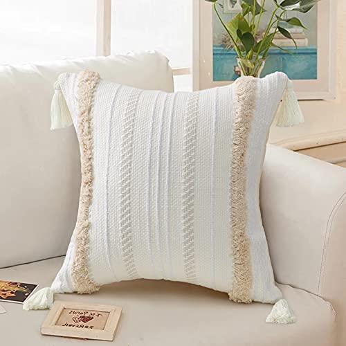 Moderna federa per cuscino con nappa geometrica lavorata a maglia, federa per divano e divano in tessuto beige solido, per divano (50 cm x 50 cm)