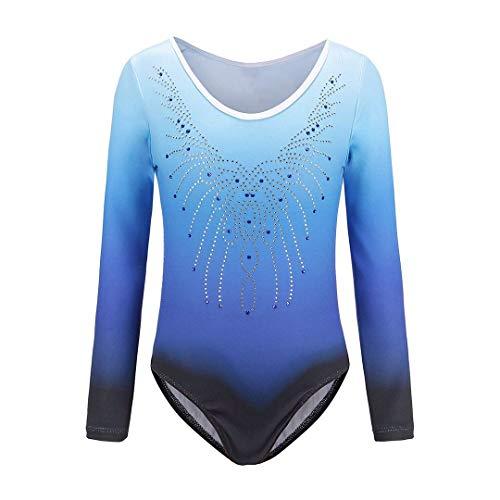 Sinoem Gymnastikanzug für Mädchen von 5 bis 12 Jahren, langärmelig, mit Farbverlauf und Glitzer. Für Tanz, Ballet, Turnen. 8 Jahre blau-langarm