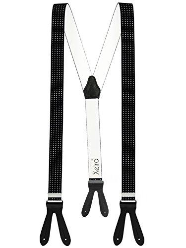 Xeira Schwarz Punkte Hosenträger mit Schwarzen Lederriemen zum Knöpfen für Herren und Damen