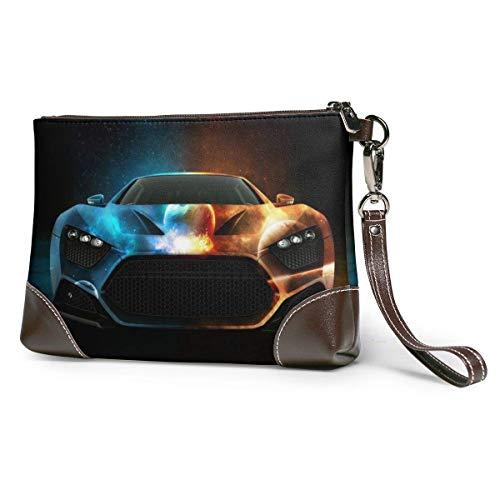 Ahdyr bolso de mano de cuero para mujer Monederos Carteras de teléfono de embrague Monederos pequeños de cuero para autos deportivos Bolso de mano