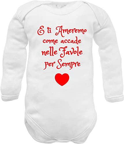 body neonato manica lunga caldo cotone frase amore - E ti ameremo... per sempre - idea regalo nascita nipote zia, nonna, nonni, mamma e papà -13 ameremo W ML CC 00: 00: 0-3 mesi)