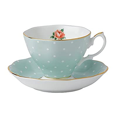 Royal Albert 8701026135 Polka Rose Formal Vintage Teacup and Saucer Boxed Set