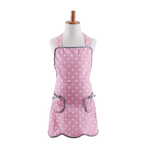 Thin Kids Girl Cotton Apron, Cooking Apron for Kid Girls, Pink Polka Dots Baking Apron for Children with 2 Pockets