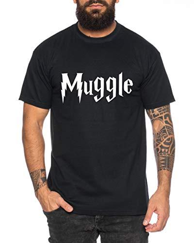 Tee Kiki Muggle Camiseta de Hombre Cool Fun-Shirt, Farbe2:Negro, Gre2:Medium