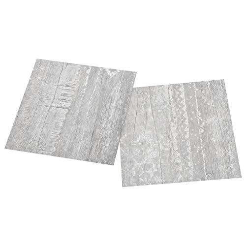 vidaXL 55x PVC-Fliesen Selbstklebend Vinyl-Fliesen Bodenbelag Vinylboden Laminat Dielen Fußboden Laminatboden Fliese Wohnzimmer 5,11m² Grau