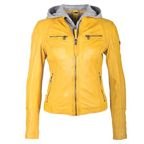 Gipsy Damen Lederjacke aus feinstem Lammnappa Leder mit Kapuze (M, Gelb)