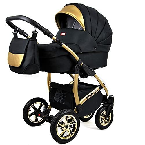 Lux4Kids Kinderwagen Golden Glow 3in1 Megaset Buggy Autositz Babyschale Sportsitz Isofix Onyx Isofix und Autositz
