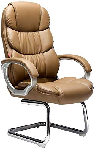 XBSXP Executive Recline Office Chairs Leather, Steel Base Executive Ergonomic 350-Pound Capacity Living Room Bedroom Dorm Play Room Office Chair (Color : Brown)
