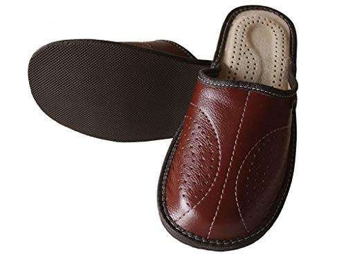 Slippers World Mens Leather Slippers - Handmade Brown Moccasins Shoes Made...