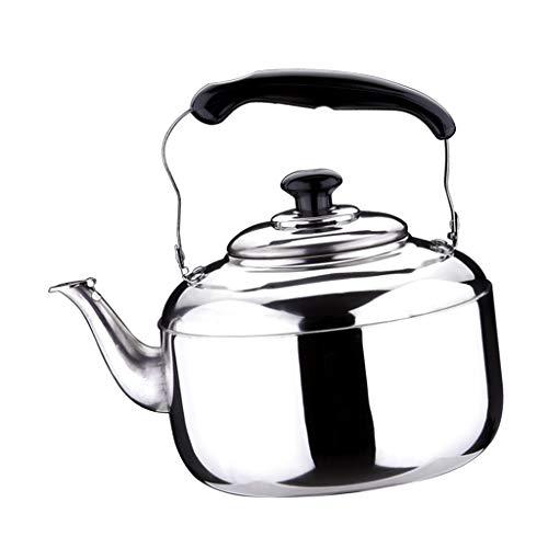 Fenteer Bollitore per tè Fischietto Teiera in Acciaio Inox per Cucina A Casa Campeggio All'aperto Stufa A Gas 4L/5L/6L - Argento, 4L
