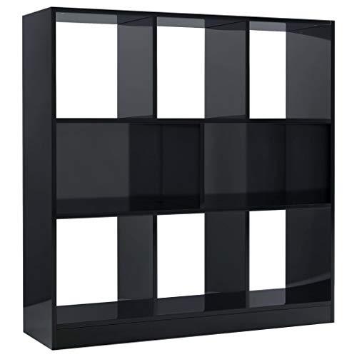 vidaXL Bücherregal mit 8 großen Fächern Standregal Aktenregal Wandregal Raumteiler Raumtrenner Regal Hochglanz-Schwarz 97,5x29,5x100cm Spanplatte