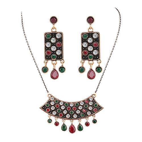 Yddxy Mujer Collar Pendiente Colgante Vintage Boho Señoras Cadena Borla Cristal Conjunto de Joyas Conjunto de Dos Piezas (Pendiente + Collar)