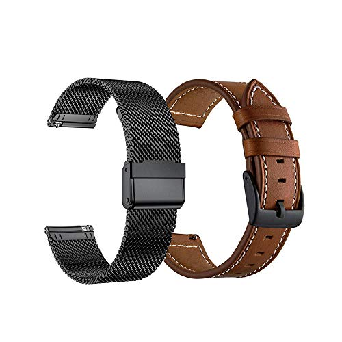 Yeejok Compatible for Vivoactive 3 Bands, 20mm Quick Release Mesh Woven Metal Watch Band Bracelet & Genuine Leather Strap for Garmin Vivoactive 3 Music/Forerunner 645/245 Smartwatch, Black + Brown