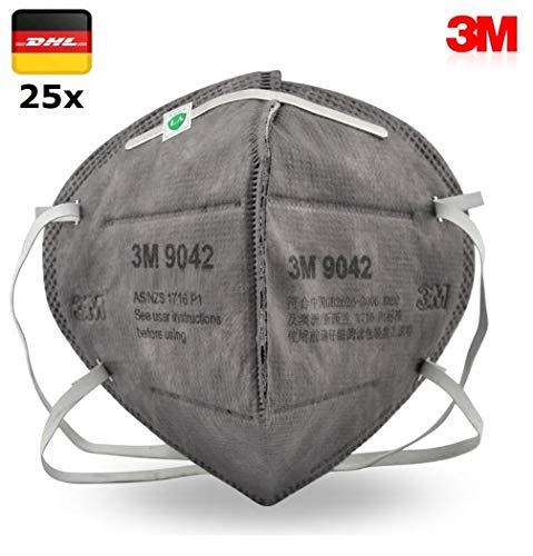 25x Atemschutz Maske Premium 3M 9042 Nasenclip Mund und und Nasenschutz Mundschutz Atemmaske - Schutzmaske mit Filterleistung