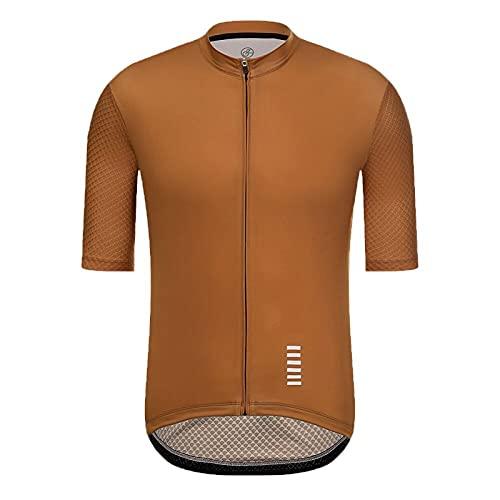 Jersey De Ciclismo Para Hombre,Camiseta Transpirable De Secado RáPido De Manga Corta Para Bicicleta (Color : Brown, Size : X-Large)