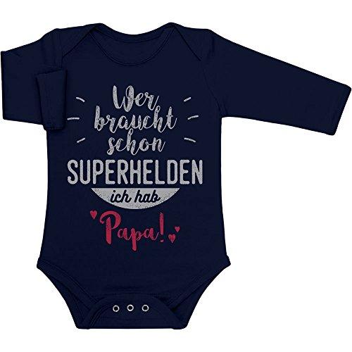 Shirtgeil Wer braucht Schon Superhelden ich hab Papa Baby Langarm Body 0-3 Monate Marineblau