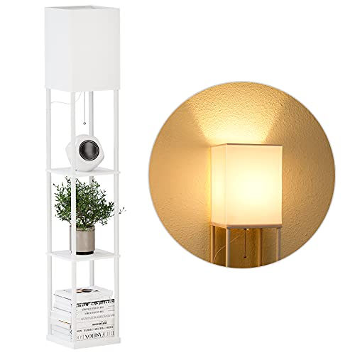SUNMORY Shelf Floor Lamp with 3-Way Dimmable LED Bulb, Modern Square Standing Lamp with Shelves and White Shade, Corner Display Bookshelf Lamp for Living Room and Bedroom(White)