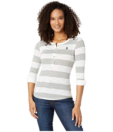 U.S. Polo ASSN. Rugby Stripe Placket Knit Top Heather Grey LG
