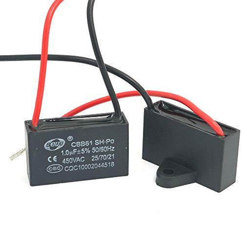 DollaTek 2Pcs CBB61 1uF 450 V AC 50/60 Hz Klimaanlage Lüfter Motor Laufkondensator