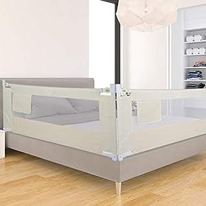 Barandilla de Cama Anti-Caída Infantil Plegable Seguro Riel de Cama para Niños Bebé Blanco (180cm x 68 cm)