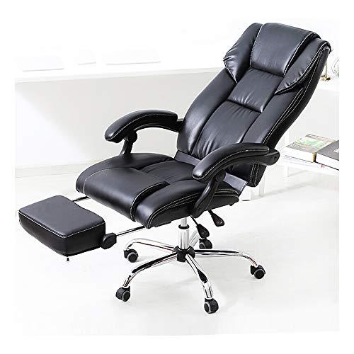 KOKOF bureaustoel, Reclining Office lederen stoel, Thuisrugleuning Heffen Zwenkstoel Computerstoel Bruin PU + pedaal