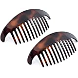 Camila Paris CP2430/2 Set of 2 French Hair Side Combs, Tortoise Large Interlocking Combs Flexible Durable Strong Hold Hair Clips for Women, No Slip Styling Girls Hair Accessories, Made in France