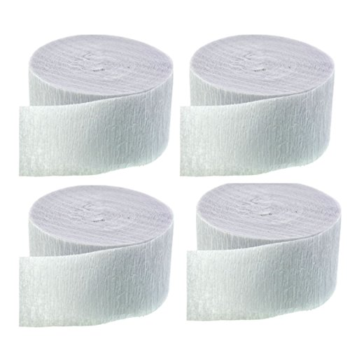 Crepe Paper Streamers 4 Rolls 70.5 Feet Each (White)
