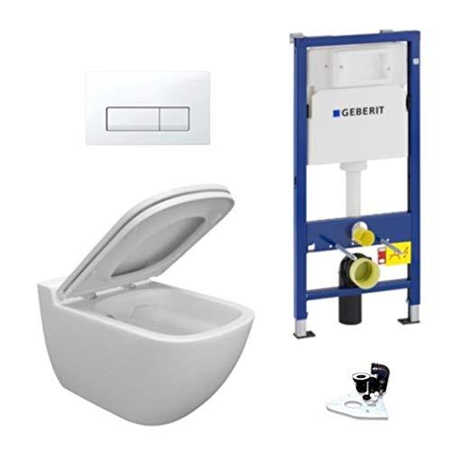 Geberit Vorwandelement + Ference WC + Drückerplatte + WC-Sitz + Delta51
