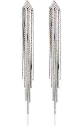 Long Drop Sleek Chain Tassel Earrings by Lovey...