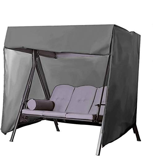 Pillowcase Patio Swing Cover, Outdoor Swing Cover 3 Seater, 600D Waterproof Hammock Swing Glider Canopy Replacement Cover, Durable All Weather Protection Patio Furniture Covers(Black)