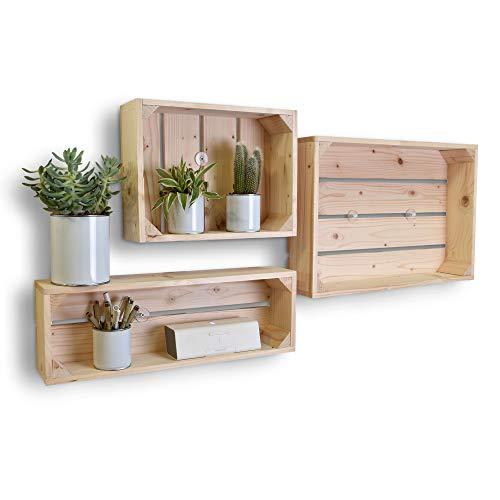 Simply a Box Lot de 3 étagères en Bois Profondeur 10 cm - Made in France
