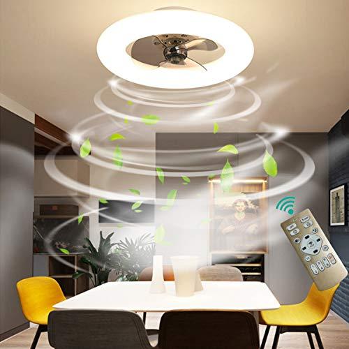Dagea Moderno LED Iluminación de Techo con Ventilador, 48W Regulable Techo Ventilador Lámpara con Mando a Distancia Velocidad del Viento Ajustable Ventilador para Sala Comedor Habitación Ø50CM,Blanco