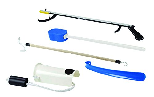 "FabLife Multiple Tool Hip Kit Daily Living Aid for Hip, Knee, and Back Rehabilitation, Including: 26"" Reacher, Contoured Sponge, Formed Sock Aid, 18"" Plastic Shoehorn and 24"" Dressing Stick"