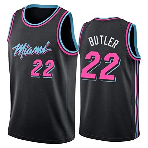 Rencai Jimmy Butler, Jersey # 22 del Baloncesto de los Hombres, Miami Heat Nueva Tela Alero sin Mangas de la Camisa de los Jerseys (Color : Black(A), Size : S)