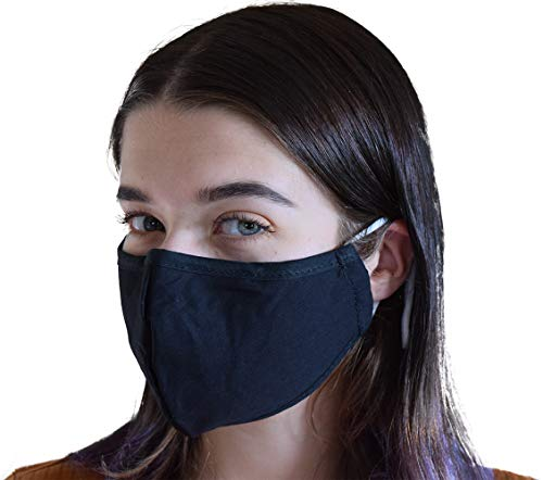 Face Covering reusable with Filter Insert Pocket,Adjustable Ear Loops, Nose Wire, 3-layer cotton cloth fabric, for teens, men, women, seniors, Washable,breathable, black, 5-pack