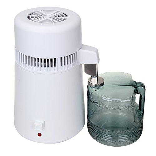 Iglobalbuy Destilador de Agua, purificador Profesional Interior del Acero Inoxidable del Filtro de Agua 4L 750W con el múltiple para la Oficina casera de la Cocina