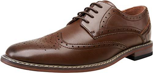 VOSTEY Men's Dress Shoes Casual Dress Shoes for Men Oxford Shoes for Men Wingtip Shoes Men Formal Shoes Business Shoes Derby Dress Shoes (10.5,Dark Brown)