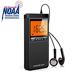 NOAA Weather Alert Radio, Excellent Reception Emergency AM FM Portable Radio Battery Operated by 2 AAA Batteries with Stero Earphone, Large LCD Screen, Digtail Alarm Clock Radio