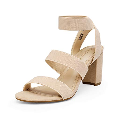 DREAM PAIRS Women's Nude Open Toe High Chunky Elastic Strap Dress Heel Sandals Size 8 US VICTORIA