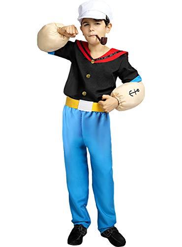 Funidelia | Disfraz de Popeye Oficial para niño Talla 5-6 años ▶ Popeye, Dibujos Animados - Multicolor